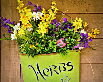 HERBS and FRESH FLOWERS ~ Herbal Arrangement ~ Flower Photography ~ Botanical Wall Art ~ Wild and Garden Flowers ~ Vertical Format