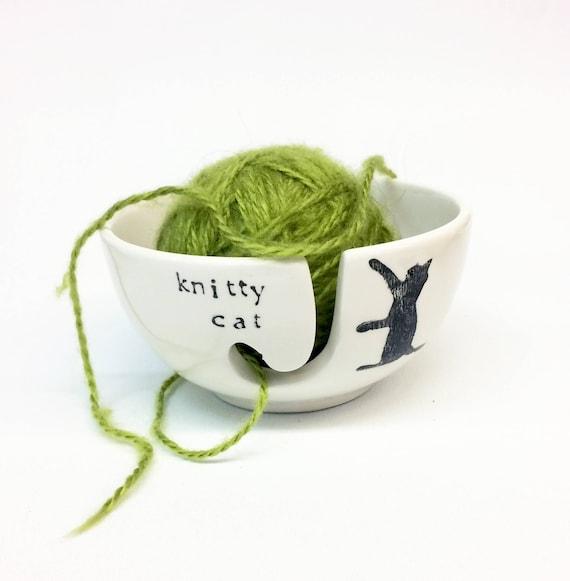 Knitty chat en céramique fil bol Animal chat Animal bol Pun 120bd7