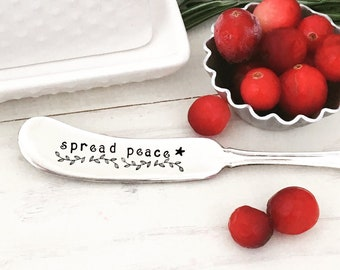 Vintage Hand Stamped Entertaining Spread Cheer Master Butter Knife Table Settings Hostess Gift