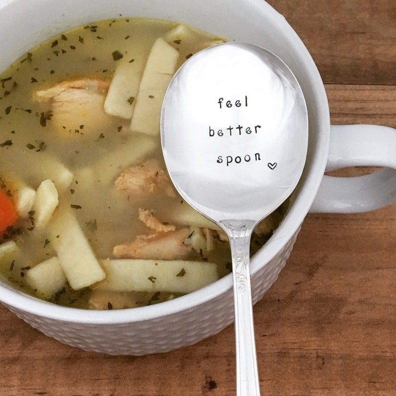 hand stamped vintage silverware chronic illness Feel Better Spoon recovery care package Get well gift encouragement,