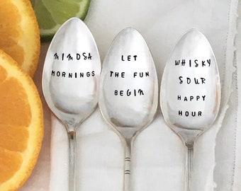 Vintage silver drink spoons, cocktail stir sticks, drink puns,home bar,  girlfriend gifts, stocking stuffer