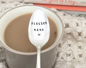 Hand Stamped Vintage Silver Coffee Blessed Mama, new mom gift, mother's day,