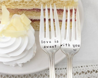 Love is sweet with you. Dessert forks, cake forks, wedding,  anniversary gift