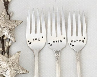 Christmas dessert forks, hand stamped vintage silverware, holiday table decor
