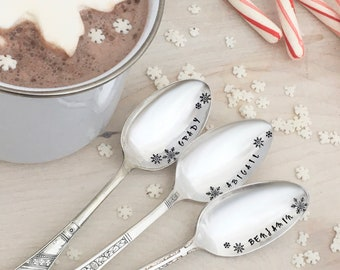 Personalized cocoa spoons - hot chocolate bar, family gift, stocking stuffer
