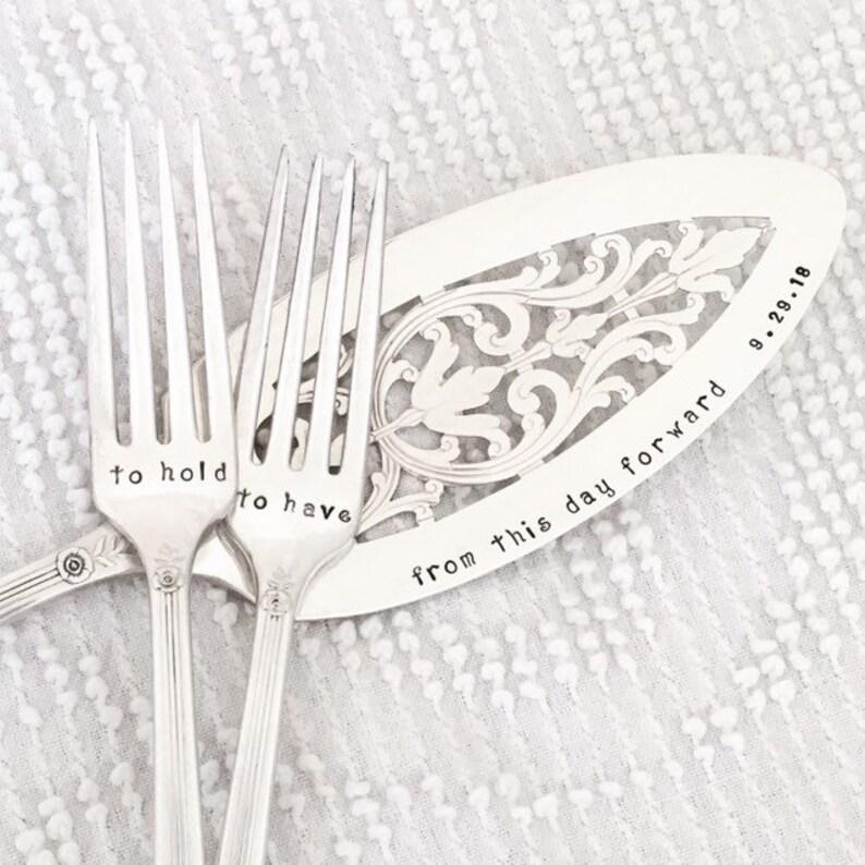 Wedding Cake Server and Fork Set vintage silverplate hand image 0