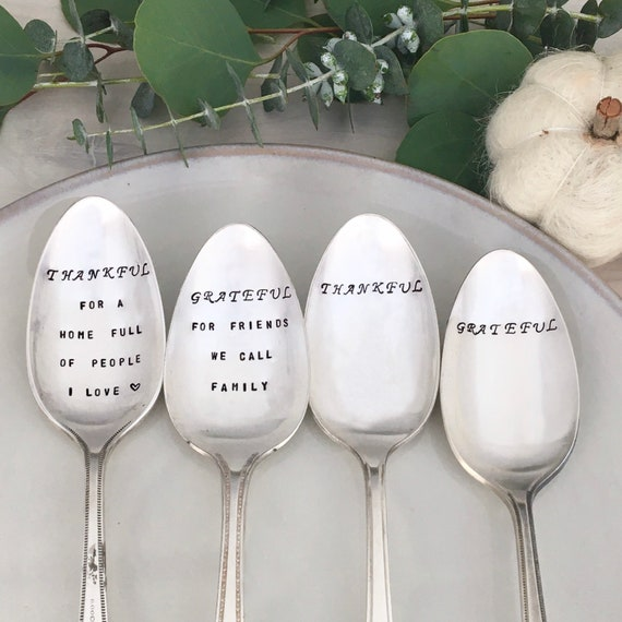 tablespoon hostess gift family dinner holiday utensil Happy Thanksgiving Engraved Serving Spoon