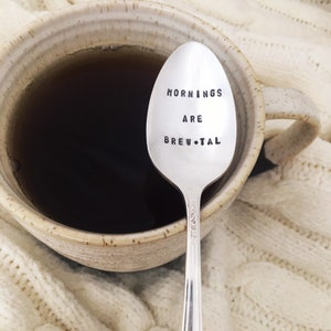 Hand Stamped Vintage Spoon for Coffee Lovers Decaf Is For Sissies