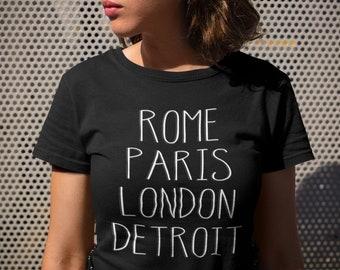e7b98b43 Funny Detroit T-Shirt | Rome Paris London Detroit City T-Shirt for Women,  Men, Teens, Kids Detroit Michigan Tshirt Gag Gift Birthday Gift