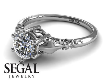 White Gold Engagement Ring Moissanite Ring Antique Ring Solitaire Engagement Ring Victorian Ring White Gold Engagement Ring - Reagan