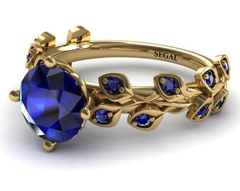 Sapphire engagement ring for women unique blue sapphire stones Blue leaves 18k yellow gold ring sapphire wedding anniversary