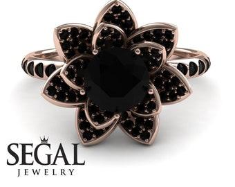 Black Diamond Ring Lotus Flower Ring Black Lotus Engagement Ring Diamond Flower Ring Unique Engagement Rings Rose Gold Promise Ring for Her