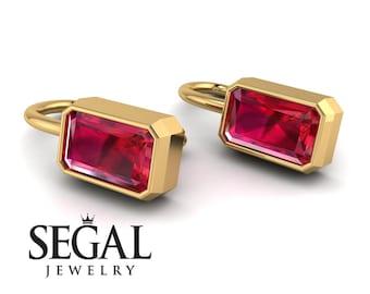 Emerald Cut Ruby Earrings Bezel Gold 14K-18K Gold Ruby Emerald Cut Earrings Bezel Set Mom Baby Gift - Perla