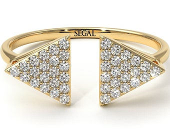 Triangle Diamond Ring Gold 14K-18K Gold Diamond Ring Triangle White Diamonds Ring Unique Rings for Birthday - Hope