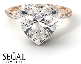 14k rose gold diamond rings Heart Shape Diamond Ring - Noelle