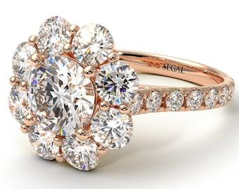 Glamorous Diamond Engagement Ring Halo Rose Gold 14K-18K Halo Ring Diamond Engagement Elegant Ring for Her Unique Promise Ring - Amaya
