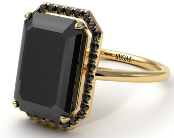 Emerald Cut Engagement Rings Halo emerald cut Black Diamond ring with hidden Black Diamonds gift for her - Izabella