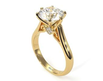 3ct Diamond Engagement Ring Gold 14K-18K Gold Ring 3 carat Diamond Engagement Ring Unique Promise Rings for Women - June