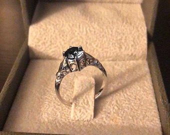 Designer Engagement Ring White Gold Black Diamond Ring Art Deco Solitaire Ring Leaf Ring Designer Engagement Ring - Reagan Ready To Ship