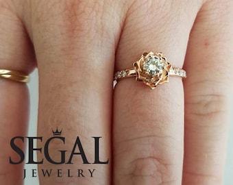Rose Gold Antique Engagement Ring Rose Gold Diamond Engagement Rings Rose Ring Vintage Ring Antique Engagement - Elena