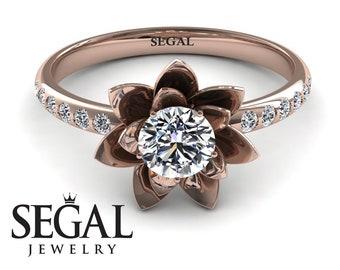Rose Gold Engagement Ring Rose Gold Lotus Engagement Ring Unique Lotus Ring 14K Rose Gold Lotus Flower Ring Unique Engagement Ring - Lotus