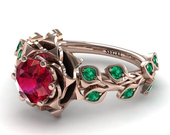 1 Carat Ruby Engagement Ring Rose Gold Engagement Ring Rose Flower Engagement Ring Flower Engagement Ring - Sydney Rose Flower