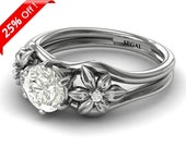 Unique Engagement Ring White Gold Nature Inspired Ring Twig Engagement Ring Moissanite 1950s Ring Edwardian Engagement Ring - Bella