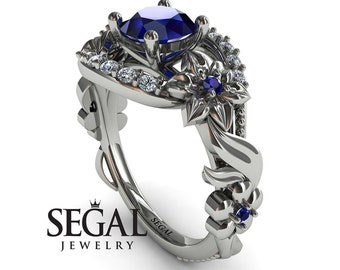 1 Carat Sapphire Ring White Gold Flower Ring Nature Inspired Engagement Ring Promise ring for her Leaf Ring Blue Sapphire Ring - Layla