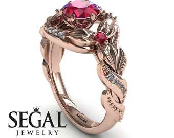Best engagement rings 18K rose gold Engagement Ring Red Ruby Diamonds Ring - Isabelle