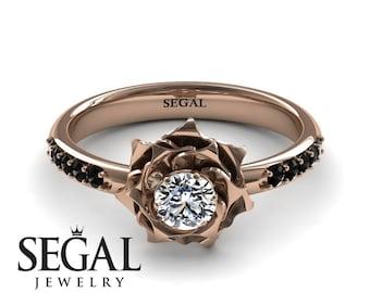 Rose Gold Engagement Ring Diamond Engagement Ring Rose Ring Flower Ring Antique Ring 14k Rose Gold Engagement Ring - Elena