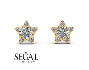 Halo Diamond Star Earrings Gold 14K-18K Gold Star Diamond Stud Earrings Diamond Star Studs Celestial Jewelry Wedding Gift - Zelda