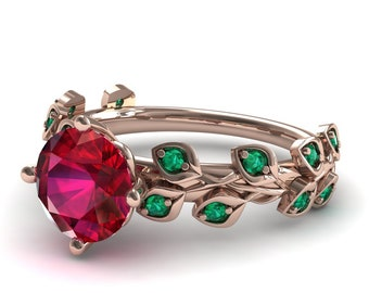 Rose Gold Engagement 2ct Ruby Engagement Ring Leaf Engagement Ring Ruby Ring