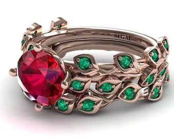 Leaf ruby engagement and wedding rings set for women 2 ct Ruby Engagement Rings 14k Rose Gold Ring