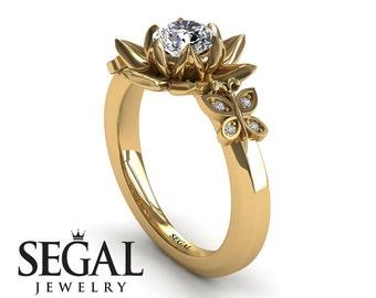 Lotus Flower Engagement Ring Yellow Gold Promise Ring Moissanite Ring Art Nouveau Engagement Flower Gold Lotus Ring Moissanite - Kaitlyn