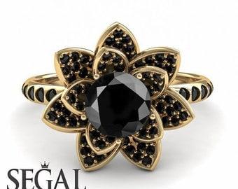 Black Diamond Ring Lotus Engagement Ring Lotus Flower Ring Diamond Flower Ring Unique Engagement Ring Proposal Ring Nature Inspired Ring