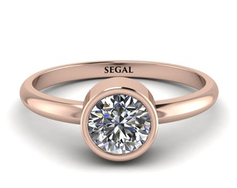 14K rose gold engagement ring Solitaire Bezel Diamond Ring - Emerson