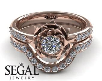 Bridal Set Rose Gold Bridal Set Rose Gold Set Rose Engagement Ring Flower Ring Wedding Band Set Ring - Elena