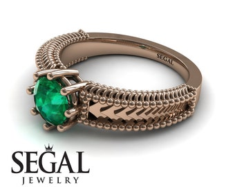Victorian Engagement Ring Rose Gold Victorian Ring Designer Engagement Ring Green Emerald Ring Solitaire Victorian Engagement Ring - Harper