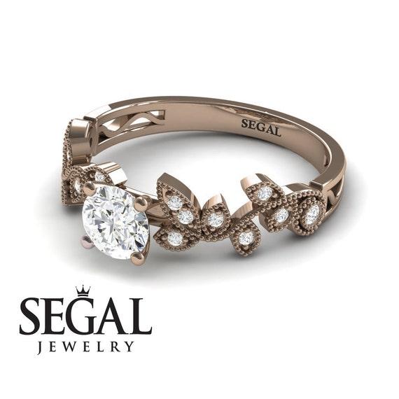 Leaf Engagement Ring Rose Gold Diamond Ring Leaves Engagement Etsy