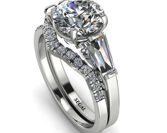 Art deco 14K White Gold Glamorous Custom diamond Bridal Set Bridal set Natural Diamond - Harley