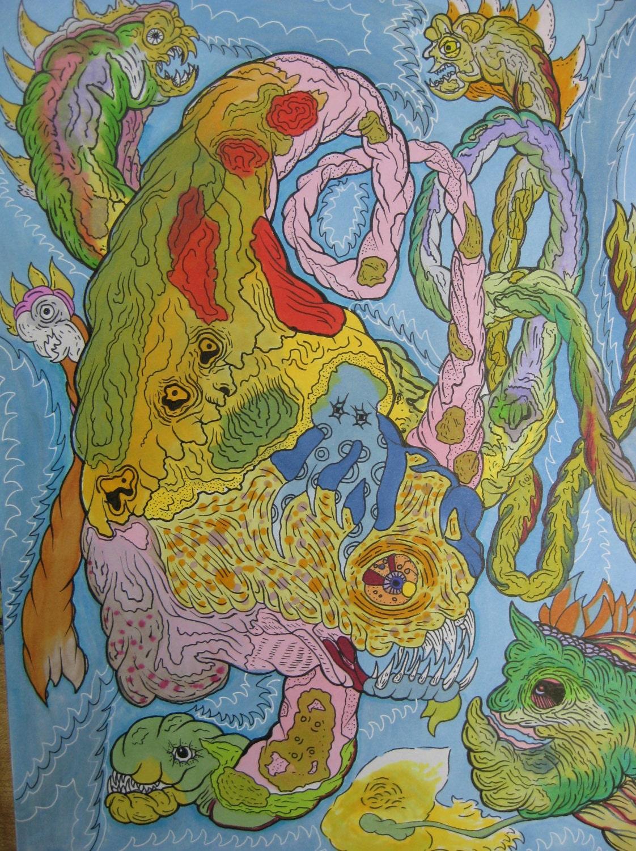 fish art alien art undersea art weird art trippy alien | Etsy
