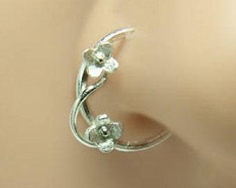 8470f432c46d Anillo de la nariz-aro de la nariz-perforación de la nariz-pendiente de la  hélice-Tragus Earring-cartílago piercing-plata esterlina 8mm diámetro  interior ...