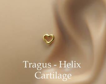 Tragus Earring - Heart Tragus Earring - Cartilage Earring - Nose Ring Stud - 14K Yellow Gold Filled Heart Tragus Stud - Tragus Piercing