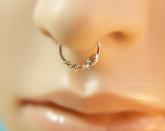 Leaf Septum Ring/nose ring, sterling silver septum ring, 16 gauge,18 gauge,20 gauge, septum,helix,cartilage earring