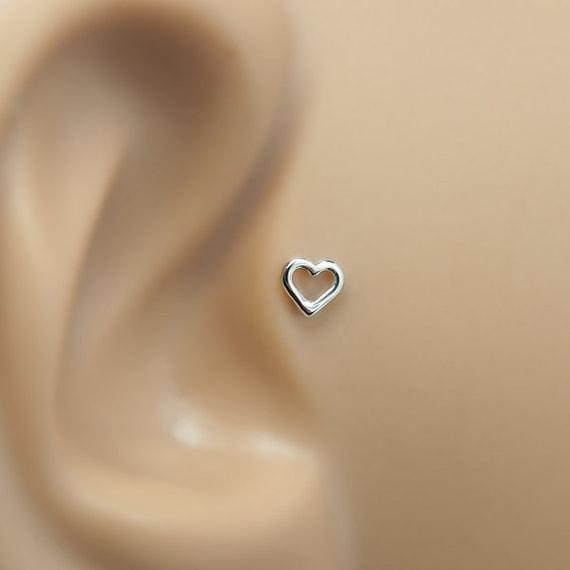 Heart Tragus Ohrring 16g Tragus Piercing Tragus Backing Heart Helix Stud Helix Earring Helix 16 Gauge Stud Gold Helix Piercing