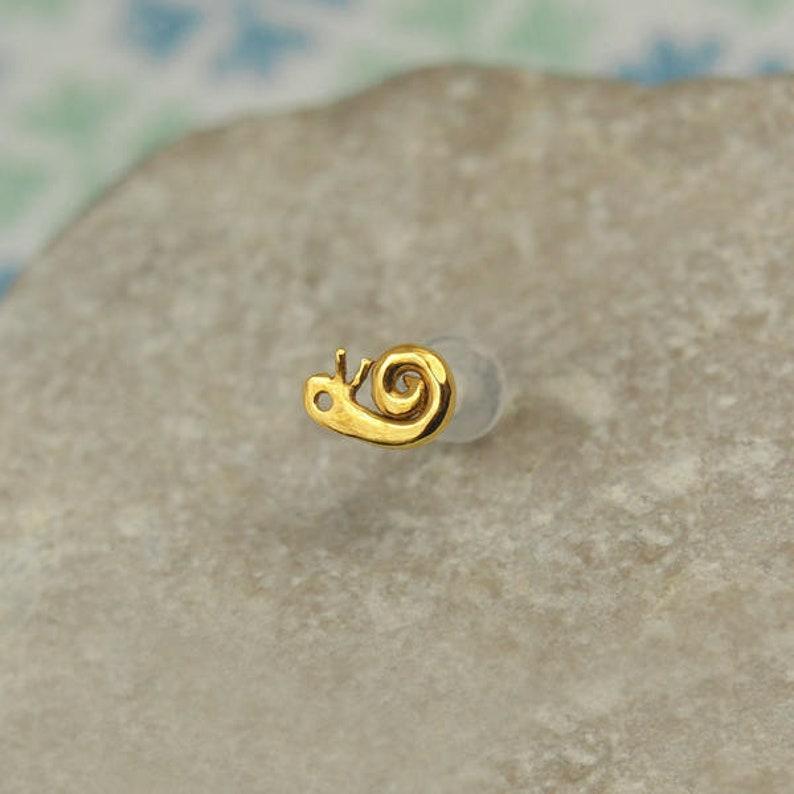 Helix 16 Gauge Stud Snail Cartilage Stud Helix Earring Cartilage Earring Gold Helix Piercing 16g Helix Stud 16g Tragus Piercing