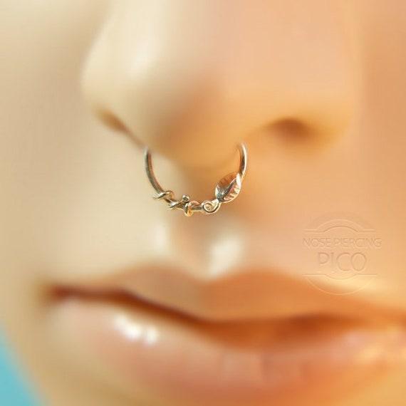 Leaf Septum Ring Nose Ring Sterling Silver Septum Ring 16 Etsy