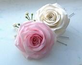 White roses Floral handmade gypsophila hair pins set Wedding jewelry hair accessories Bridal hair pins Clay flowers