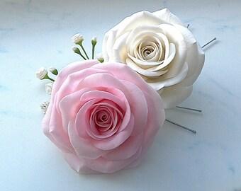 Rose hair pins set.Wedding hair accessories.Bridal hair pins.Clay flowers.Ready to ship