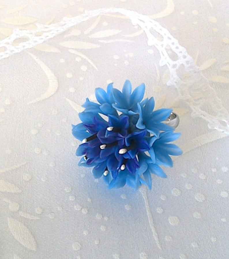 Trendy ring Light blue ring Cheap ring Light blue Ring flower Flower ring. Gift for her